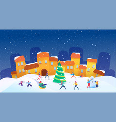 people having fun outdoors at winter vector image