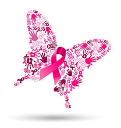 Pink butterfly with handprints for breast cancer vector image