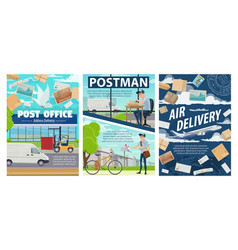 postmen post office and parcels mail delivery vector image