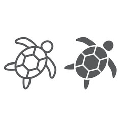Sea turtle line and glyph icon animal vector