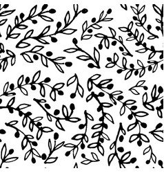 seamless pattern of hand-drawn olive branches on vector image