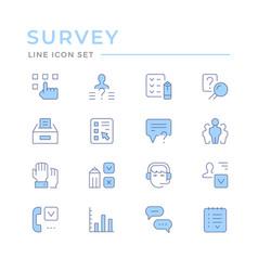 set color line icons survey vector image