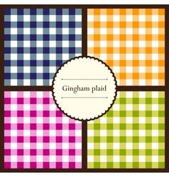 set gingham plaid patterns vector image