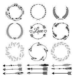 Set hand drawn arrows tribal designs vector