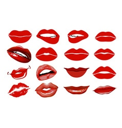 Set of 16 glamour lips with vinous lipstick colors vector image