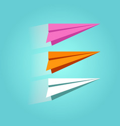 set of colorful paper plane icons isolated on vector image