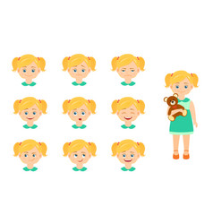set of girl emotions vector image