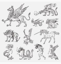 set of mythological animals mermaid minotaur vector image