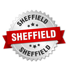 Sheffield round silver badge with red ribbon vector