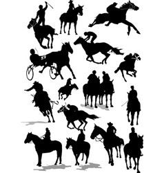 Sixteen horse racing silhouettes colored for vector