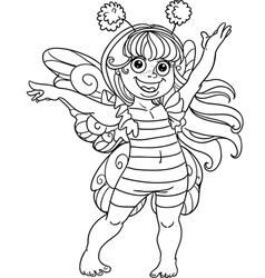 Small girl in carnival suit bee black outline vector image