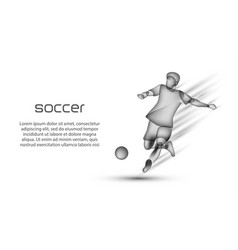 Soccer player hits the ball in motion vector