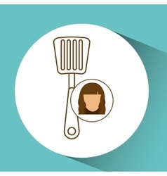 Spatula tool kitchen icon and female cartoon vector