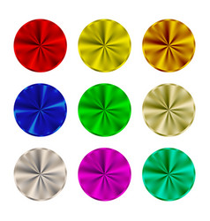 steel round buttons set template a blank vector image