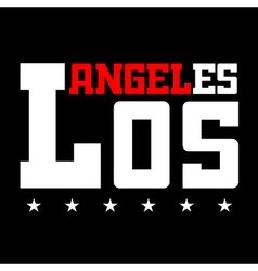 T shirt typography Los Angeles CA stars black vector