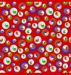 texture human colorful eyeballs isolated on red vector image
