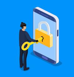 Thief or hacker use key to hack vector