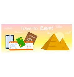 travel to egypt horizontal banner template vector image