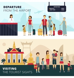 Travelers 2 Flat Horizontal Banners Set vector image