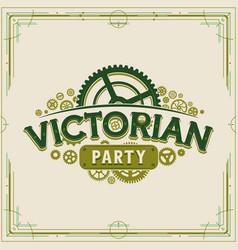 victorian party vintage logo design vector image