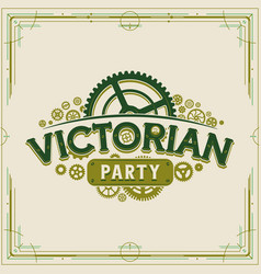 victorian party vintage logo design victorian era vector image