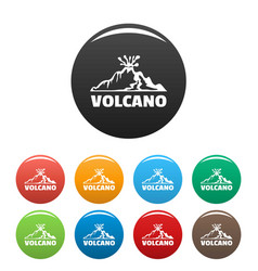 volcano icons set color vector image