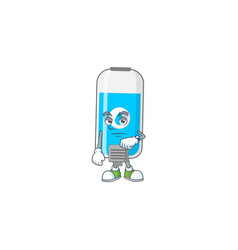 Wall hand sanitizer with waiting gesture cartoon vector
