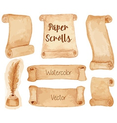 Watercolor ancient paper scrolls vector