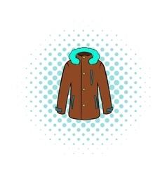 Winter jacket icon comics style vector image vector image