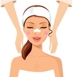 Woman enjoying relaxing massage treatment concept vector