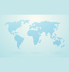 world map made up of blue shapes vector image