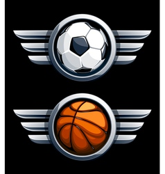 Basketball and soccer balls vector image vector image