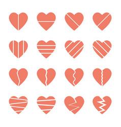 broken heart icons set vector image vector image