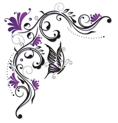 Flowers butterfly purple violet vector