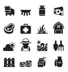milk farm icons set vector image