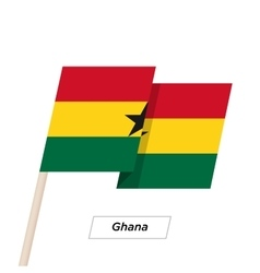 Ghana Ribbon Waving Flag Isolated on White vector image