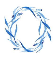 Indigo blue hand drawn wreath vector
