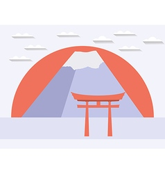 Japanese gate japanese mountain symbol of japan vector