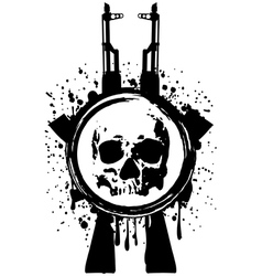 skull ak blood vector image vector image