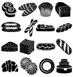 Bakery foods icons set vector image vector image