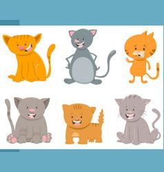 Cute cat characters set vector