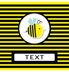 Funny cartoon bee Striped background Card vector image vector image