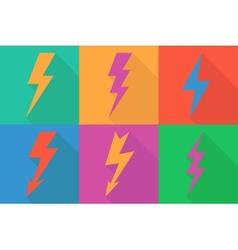 Lightning icon flat design long shadows vector image vector image
