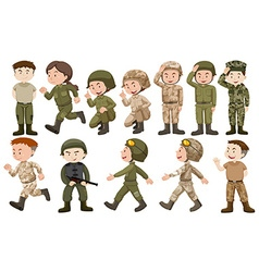 Male and female soldiers in uniform vector image