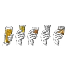 Male hand holding a glasses with beer tequila vector image vector image