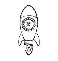 Monochrome blurred silhouette of space rocket vector