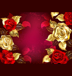 Red background with jewelry roses vector