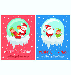 merry christmas happy new year poster santa elf vector image vector image