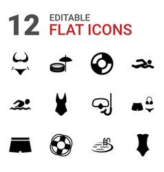 12 swim icons vector