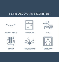 6 decorative icons vector image